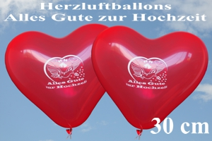 Herzluftballons, Alles Gute zur Hochzeit, 30 cm, 2-seitig bedruckt