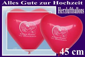 Große Herzluftballons, Alles Gute zur Hochzeit, 45 cm