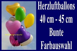 Herzluftballons 40 - 45 cm, bunte Farbauswahl