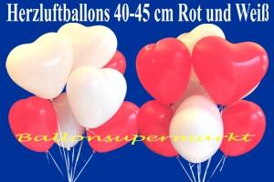 Herzluftballons 40 cm, Rot und Weiß