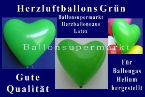 Herzluftballons Gruen