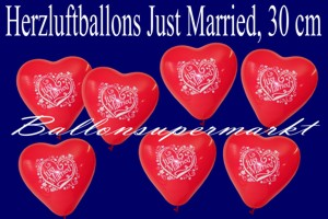 Herzluftballons Just Married 30 cm