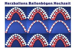 Dekoration Hochzeit mit Herzluftballons + Helium, Ballonbögen