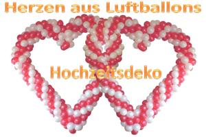 Dekorationen aus Herzluftballons