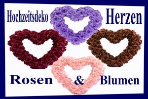 Hochzeitsdeko, Herzen aus textilen Rosen und Blumen