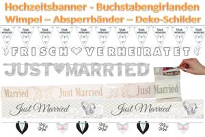 Hochzeitsbanner, Buchstabengirlanden, Wimpelgirlanden, Absperrbänder, Schilder