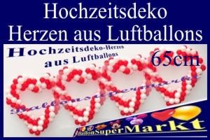 Hochzeitsherzen aus Luftballons, 65 cm, Hochzeitsdekoration