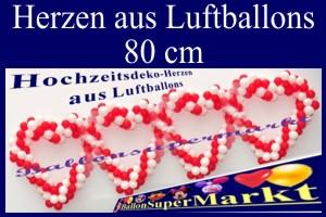 Hochzeitsherzen aus Luftballons, 80 cm, Hochzeitsdekoration