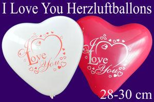 Herzluftballons I Love You 28-30 cm, Rot und Weiß