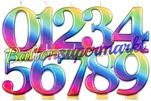 Regenbogen Zahlen Geburtstagskerzen