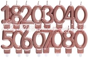 Rosegoldene Zahlen Geburtstagskerzen