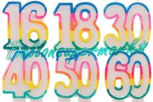 Glitter Zahlen Geburtstagskerzen