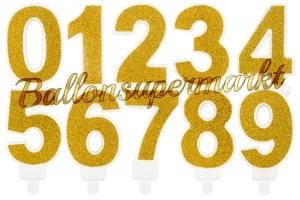 Gold Glitter Zahlen Geburtstagskerzen