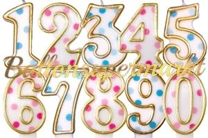 Blue & Pink Dots Zahlen Geburtstagskerzen