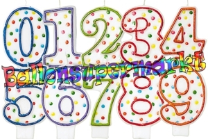 Rainbow Dots Zahlen Geburtstagskerzen
