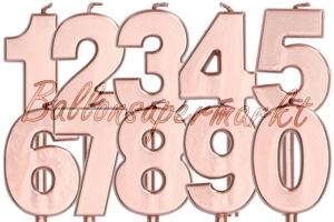 Metallic Rosegold Zahlen Geburtstagskerzen