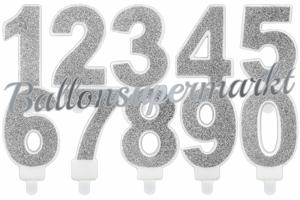 Silber Glitter Zahlen Geburtstagskerzen
