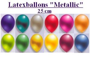 Luftballons, Rundform, 25 cm, Metallic