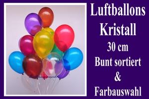 Luftballons, Rundform, 30 cm, Kristall