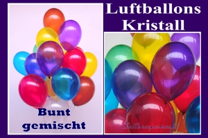 Luftballons, Rundballons, 30 cm, bunt gemischt, Kristall