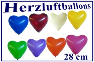 Herzluftballons 28 cm, Farbauswahl - Hochzeitsdekoration