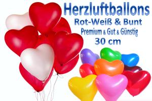 Herzluftballons 30 cm Farbauswahl - Luftballons zur Hochzeit