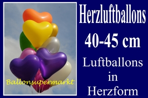 Herzluftballons 40 cm Farbauswahl - Luftballons zur Hochzeit