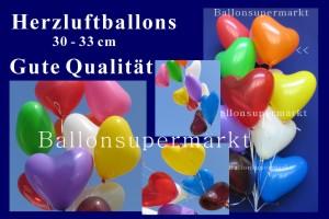 Herzluftballons 30 cm, sehr gute Qualität