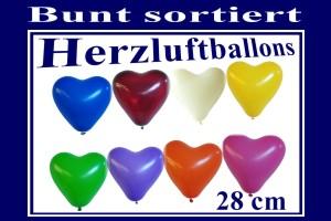 Herzluftballons 28 cm, Bunt gemischt