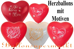 Herzluftballons Latex m. Motiv