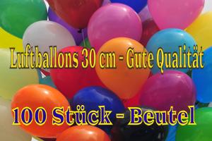 Luftballons 30 cm - Gute Qualität - 100 Stück Beutel