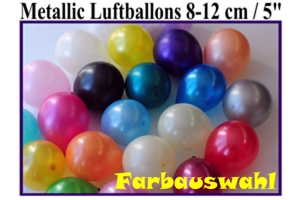 Luftballons, Rundballons, 8-12 cm, Farbauswahl, Metallic