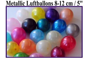 Luftballons, Rundballons, 8-12 cm, bunt gemischt, Metallic