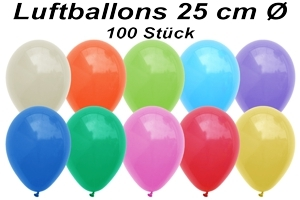 Luftballons 25 cm - 100 Stück Beutel