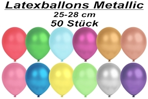 Luftballons Metallic, 25-28 cm - 50 Stück Beutel