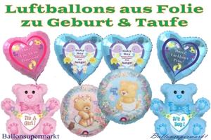 Luftballons aus Folie zu Geburt und Taufe ohne Helium