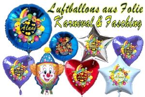 Luftballons aus Folie zu Karneval und Fasching