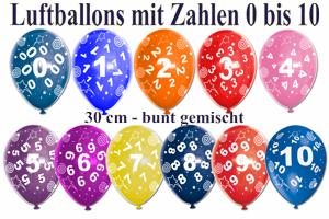 Luftballons mit Zahlen, 0. 1, 2, 3, 4, 5, 6, 7, 8, 9, 10