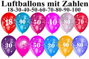 Luftballons mit Zahlen, Zahl 18, 30, 40, 50, 60, 70, 80, 90 und 100