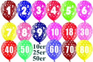 Luftballons mit Zahlen, Zahl 1, 2, 3, 4, 5, 6, 7, 8, 9, 10, 18, 30, 40, 50, 60, 70, 80