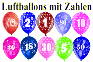 Luftballons mit Zahlen, Zahlenballons aus Latex