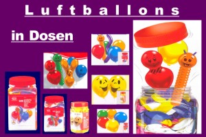 Luftballons in Dosen, Party- und Deko-Sortimente