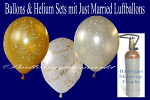 Luftballons Hochzeit, Just Married Rundballons mit Helium in Sets