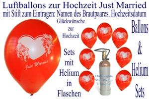 Luftballons Hochzeit, zum Eintragen mit Stift, Namen des Brautpaares und Hochzeitsdatum