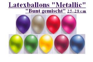 Luftballons, Rundballons, 25 cm, bunt gemischt, Metallic