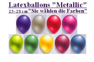 Luftballons, Rundballons, 25 cm, Farbauswahl, Metallic