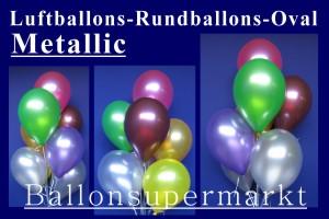 Luftballons, Rundballons, Oval, Metallic, 25 cm