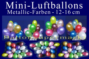 Luftballons, Rundballons, 12-16 cm, Metallic