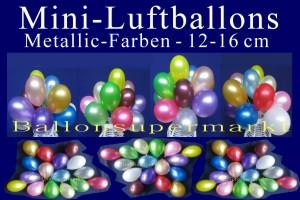 Luftballons Mini 12 - 16 cm Metallicfarben