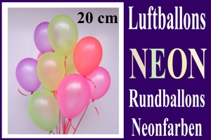 Luftballons, Rundballons, 20 cm, Neonfarben